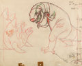 Animation Art:Production Drawing, Fantasia Dinosaur Battle Layout Drawing Original Art (Walt Disney, 1940)....