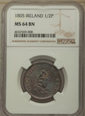 Ireland, Ireland: George III 1/2 Penny 1805 MS64 Brown NGC,...