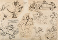 animation art:Model Sheet, Mickey's Service Station Studio Model Sheet Original Art(Walt Disney, 1935)....
