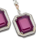 Estate Jewelry:Earrings, Spinel, Diamond, Colored Diamond, Platinum, Rose Gold Earrings. ...