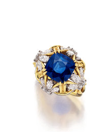 Kashmir Sapphire, Diamond, Platinum, Gold Ring, Schlumberger for Tiffany & Co