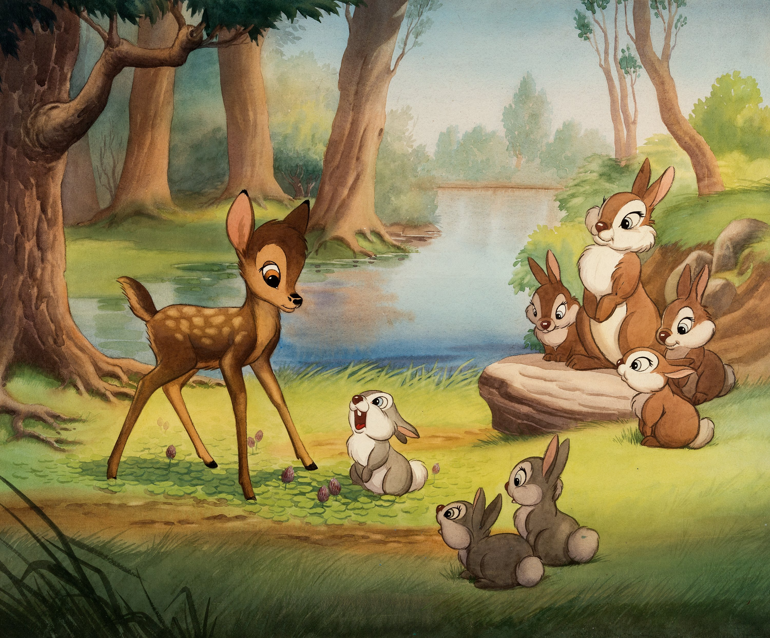 """Bambi """"Forest Secrets Told by Thumper to Bambi"""" Painting Original 