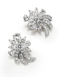 Estate Jewelry:Earrings, Diamond, Platinum Earrings, Van Cleef & Arpels. ...