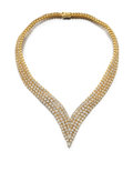Estate Jewelry:Necklaces, Diamond, Gold Necklace, Cartier, French. ...