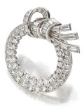 Estate Jewelry:Brooches - Pins, Diamond, Platinum, White Gold Brooch, Oscar Heyman Bros. . ...