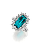 Paraiba Tourmaline, Diamond, Platinum Ring