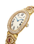 Estate Jewelry:Watches, Cartier Lady's Diamond, Ruby, Baignoire Gold Watch, French. ...