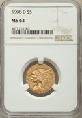 Indian Half Eagles: , 1908-D $5 MS63 NGC. NGC Census: (956/493). PCGS Population:(1391/422). MS63. Mintage 148,000. ...