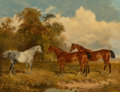 Paintings, James Walsham Baldock (British, 1812-1898). Two bay horses and a dappled grey in a field with trees on the left, 1869. O...