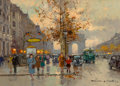 Paintings, Edouard-Léon Cortès (French, 1882-1969). Avenue George V et les Champs-Élysées. Oil on canvas. 13 x 18 inches (33.0 x 45...