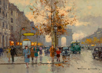 Edouard-Léon Cortès (French, 1882-1969) Avenue George V et les Champs-Élysées Oil on canvas...