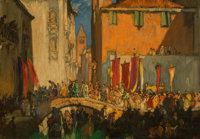 Sir Frank Brangwyn (British, 1867-1956) A procession from the Church of San Barnaba, Venice Oil on p