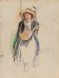 Paintings, Jules Pascin (Bulgarian/French, 1885-1930). Fille à la mandoline, 1912. Oil on canvas. 26 x 20 inches (66.0 x 50.8 cm). ...