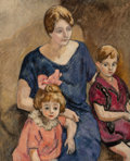 Fine Art - Painting, European:Modern  (1900 1949)  , Louis Valtat (French, 1869-1952). Mère et enfants. Oil oncanvas. 39-1/2 x 32 inches (100.3 x 81.3 cm). Signed lower rig...