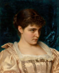 Paintings, Tito Conti (Italian, 1842-1924). A demure beauty. Oil on canvas. 20-1/2 x 17 inches (52.1 x 43.2 cm). Signed upper left:...