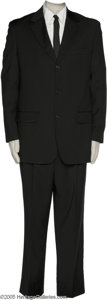 """Hollywood Memorabilia:Costumes, Ed Harris """"A Beautiful Mind"""" Costume. Featured is a black wool suit with matching tie and a white Brooks Brothers shirt worn..."""