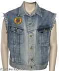 Hollywood Memorabilia:Costumes, Willie Nelson Worn Vest. Featured is a denim vest worn by country music legend and occasional actor Willie Nelson in an epis...