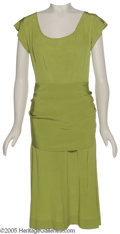 """Hollywood Memorabilia:Costumes, Sharon Stone """"Diabolique"""" Costume. Featured is a lime-green dress and matching shoes worn by actress Sharon Stone in the thr..."""