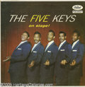 """Music Memorabilia:Recordings, """"The Five Keys On Stage"""" LP Capitol T-828 (1957). Original uncensored """"thumb cover"""" of the group's first Capitol album. Trul..."""