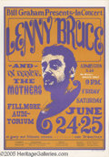 Music Memorabilia:Posters, Lenny Bruce/Mothers of Invention Fillmore Poster #BG13, 6-24-66(Bill Graham, 1966). One of the best remembered posters of t...