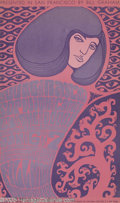 "Music Memorabilia:Posters, Doors Fillmore Poster # BG44, 1/6-7/67 (Bill Graham, 1967). A 14"" x22"" pink-and-purple poster designed by Wes Wilson for co..."
