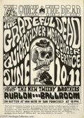 "Music Memorabilia:Posters, Grateful Dead Wes Wilson Signed ""The Quick and the Dead"" Poster # FD12, 5/10-11/66 (Family Dog, 1966). Don't miss this early..."
