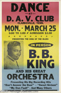 Music Memorabilia:Posters, B. B. King Concert Poster. Universally hailed as the reigning kingof the blues, B. B. King is without a doubt the single mo...