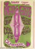 Music Memorabilia:Posters, Moby Grape California Hall Poster, 11/4/66 (1966). From the fall of1966 comes this hard to find psychedelic poster. In supe...