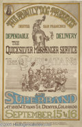 """Music Memorabilia:Posters, Quicksilver Messenger Service """"Dependable Delivery"""" Poster #FD-D2,9/15-16/67 (Family Dog, 1967). A poster from the second F..."""