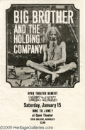 Music Memorabilia:Ephemera, Big Brother and the Holding Company, Berkeley CA. Concert Handbill, 1/15/66 (Open Theater, 1966). Very early handbill promot...