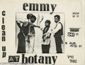 """Music Memorabilia:Posters, Madonna Concert Flyer. This is a flyer for Madonna's early band""""Emmy"""" showing Ms. Ciccone with three unidentified band memb..."""