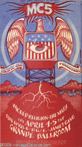 Music Memorabilia:Ephemera, MC5 Grande Ballroom Detroit Postcard 4/4-5/69 (Ross Gibb, 1969).Red and blue postcard for the terror of Detroit, the MC5. A...