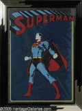 Memorabilia:Comic-Related, Metallic Superman Print. In the 1930s, Jerry Siegel and Joe Shuster, two teen-aged boys from Cleveland, Ohio created an endu...