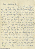 Music Memorabilia:Autographs and Signed Items, 1960 George Harrison Letter From Hamburg- Incredible Content This three page letter on lined paper is not dated but almost c...