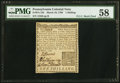 Colonial Notes:Pennsylvania, Pennsylvania March 10, 1769 1s PMG Choice About Unc 58.. ...