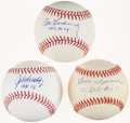 Autographs:Others, Baseball Greats Single Signed Baseball Lot of 3 with DisplaySheet....