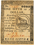 Colonial Notes:Continental Congress Issues, Continental Currency February 17, 1776 $1/6 Fr. CC-19. PCGS AboutNew 53PPQ.. ...