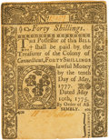 Colonial Notes:Connecticut, Colony of Connecticut May 10, 1775 40 Shillings Fr. CT-182. PCGSAbout New 50 Apparent.. ...