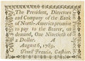 Colonial Notes:Pennsylvania, Pennsylvania Bank of North America August 6, 1789 1 Penny or $1/90Fr. PA-273, Haxby PA-465 G8, Newman page 364. PCGS Very Cho...