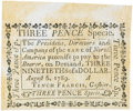 Colonial Notes:Pennsylvania, Pennsylvania Bank of North America August 6, 1789 3 Pence or $3/90Fr. PA-274, Haxby PA-465 G16, Newman page 364. PCGS Choice ...