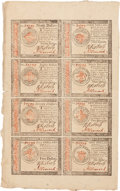 Colonial Notes:Continental Congress Issues, Continental Currency January 14, 1779 Full Sheet of$20-$80-$70-$5/$4-$3-$2-$1 Issued Notes Fr. CC-92-102-101-91/90-87.PCGS A...