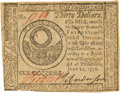 Colonial Notes:Continental Congress Issues, Continental Currency. July 22, 1776 $30 Newman 1.2 ContemporaryCounterfeit Fr. CC-46CF. PCGS New 61.. ...