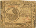 Colonial Notes:Continental Congress Issues, Continental Currency. May 20, 1777 $6 Newman 1.3 ContemporaryCounterfeit Fr. CC-67CF. PCGS About New 50. . ...