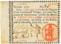 "Colonial Notes:Georgia, Georgia June 8, 1777 $3 Black ""In"" Fr. GA-105b. PCGS Very Fine 30Apparent.. ..."