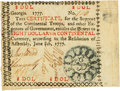 "Colonial Notes:Georgia, Georgia June 8, 1777 $8 Red ""In"" Fr. GA-110a. PCGS Extremely Fine40 Apparent.. ..."