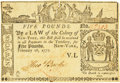 Colonial Notes:New York, Colony of New York February 16, 1771 5 Pounds ContemporaryCounterfeit Fr. NY-166. PCGS Very Fine 30 Apparent.. ...