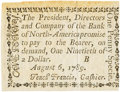 Colonial Notes:Pennsylvania, Pennsylvania Bank of North America August 6, 1789 1 Penny or $1/90Fr. PA-273, Haxby PA-465 G8, Newman page 364. PCGS About Ne...