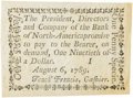 Colonial Notes:Pennsylvania, Pennsylvania Bank of North America August 6, 1789 1 Penny or $1/90Fr. PA-273, Haxby PA-465 G8, Newman page 364. PCGS Choice A...