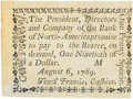 Colonial Notes:Pennsylvania, Pennsylvania Bank of North America August 6, 1789 1 Penny or $1/90Fr. PA-273, Haxby PA-465 G8, Newman page 364. PCGS New 62....