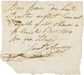 """Obsoletes By State:Missouri, (Upper Louisiana) - Sam'l Solomon """"Bon Scrip"""" for 18 Piasters Current Money to Mr. O'Hara St. Louis, December 1, 1804. PCGS Ve..."""